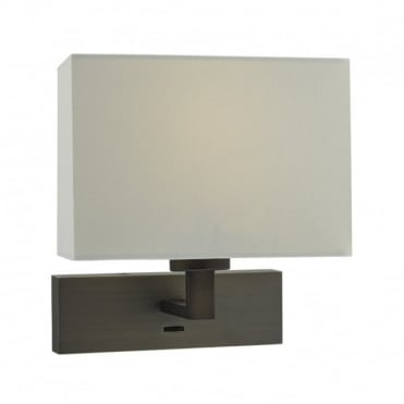 MODENA - 1 Light Rectangle Wall Bracket Dark Bronze C/W Ivory Shade , Switched
