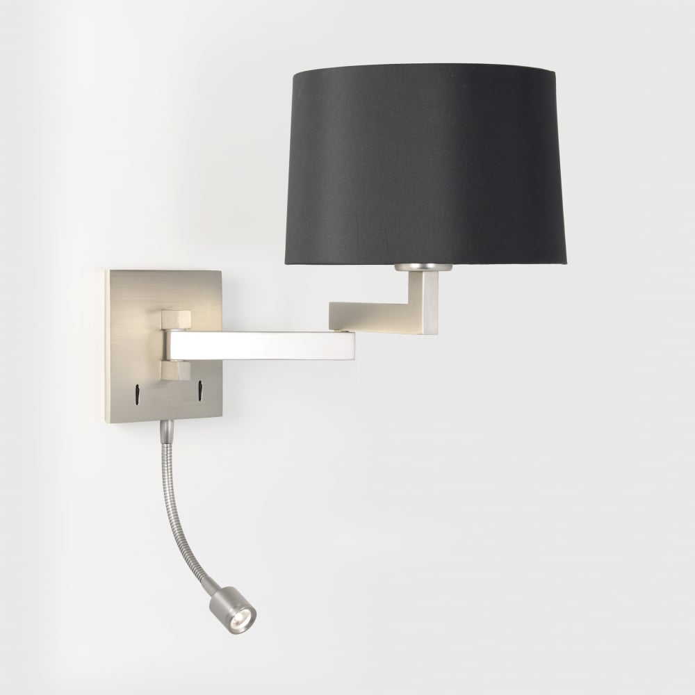 Led Swing Arm Wall Light Shade Matte Nickel Lighting And Lights Uk