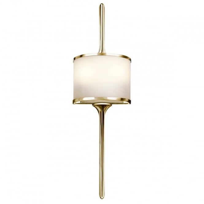MONA 2 Light Bathroom LED Wall Light Semi-circular Opal Glass Shade Polished Brass in Chrome IP44
