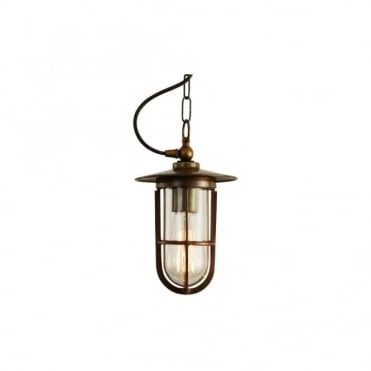 ASMARA - Well Glass Ceiling Pendant In Antique Brass (Clear Glass)