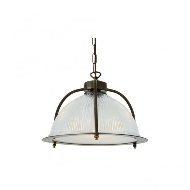 Monaghan Lighting BOUSTA - Holophane Ceiling Pendant With Diffuser In Antique Brass