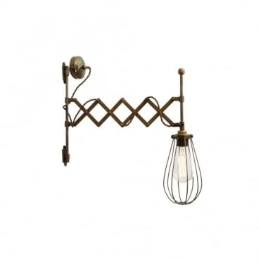 CALIS - Scissor Arm Cage Light In Antique Brass