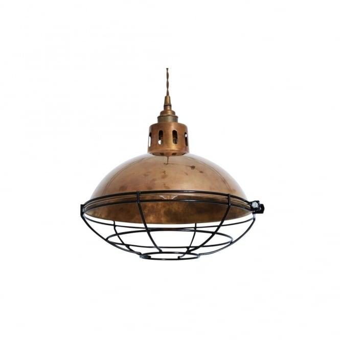 CHESTER - Cage Lamp Industrial Factory Light In Antique Brass