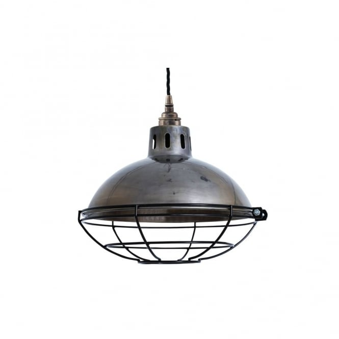 CHESTER - Cage Lamp Industrial Factory Light In Antique Silver