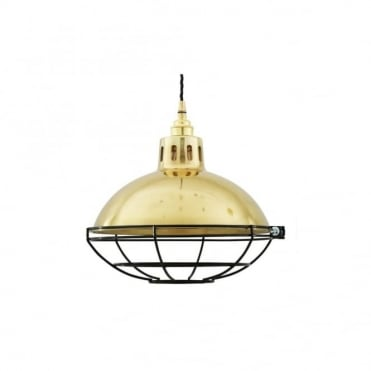 CHESTER - Cage Lamp Industrial Factory Light In Polished Brass