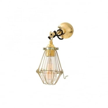 EDOM - Industrial Cage Wall Light In Polished Brass