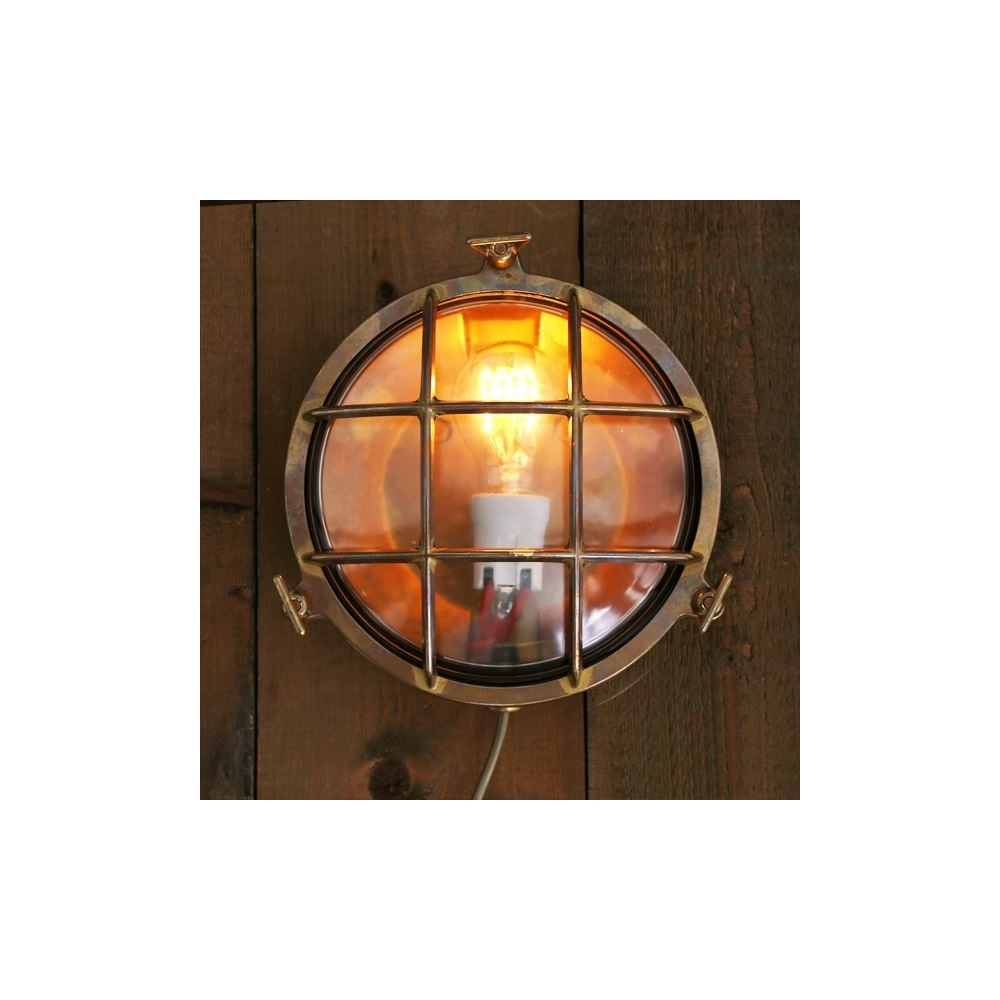 Antique Brass Clear Glass Cage Exterior Light Lighting