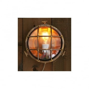 EVANDER - Exterior Marine Bulkhead Wall Light In Antique Brass