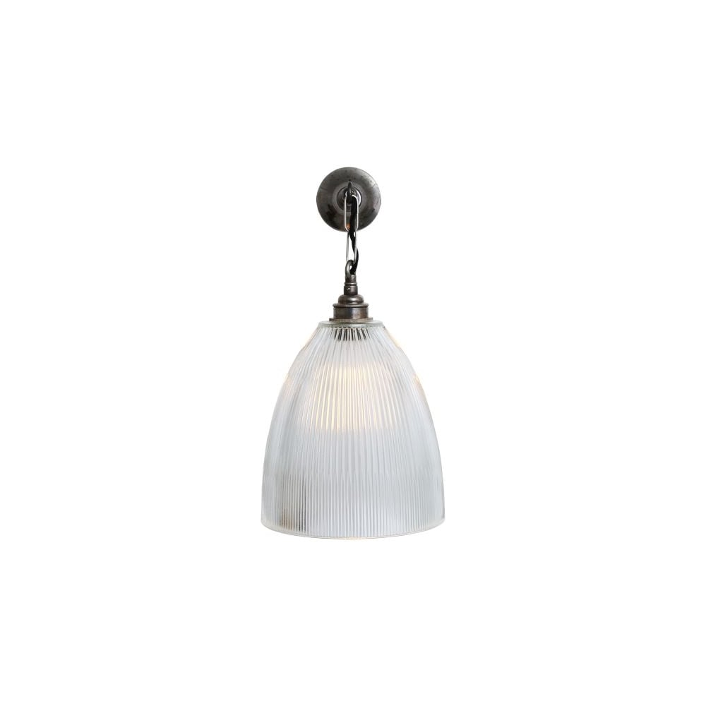 Prismatic Glass Wall Lights : Industrial Prismatic Glass Wall Light Brass - Lighting and Lights UK