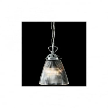 GADAR - Glass Industrial Ceiling Pendant In Polished Chrome