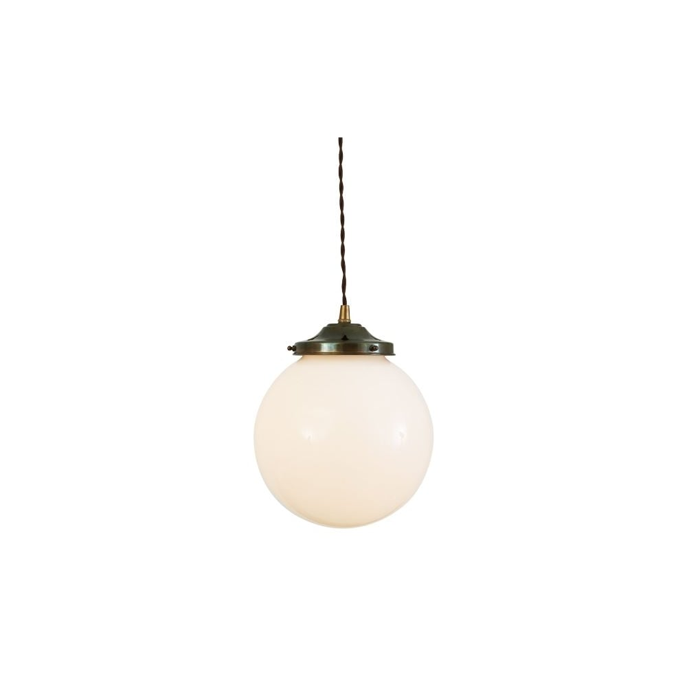 Opal glass globe antique brass ceiling light lighting and lights uk gentry 20cm opal globe ceiling pendant light in antique brass mozeypictures Image collections