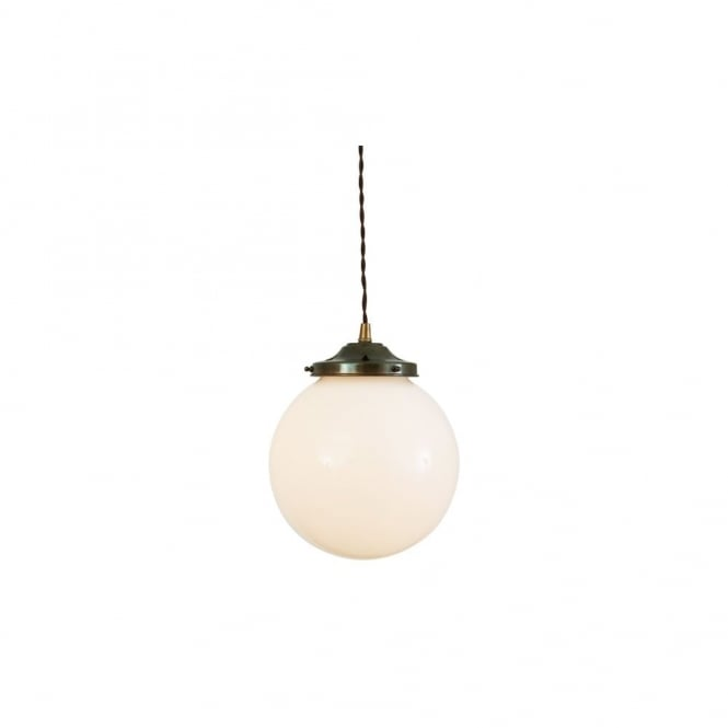 GENTRY - 20Cm Opal Globe Ceiling Pendant Light In Antique Brass