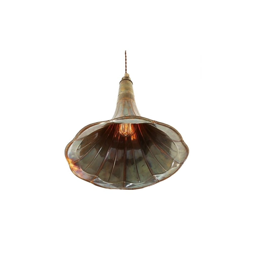 Ceiling lights quirky : Gramophone trumpet ceiling pendant solid brass lighting