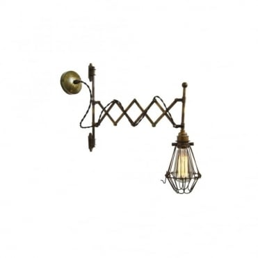 LONN - Adjustable Scissor Cage Wall Light In Antique Brass