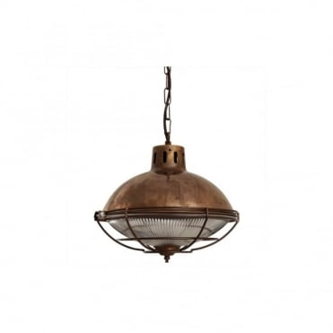 MARLOW - Cage Lamp Industrial Factory Light In Antique Brass