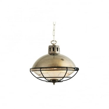 MARLOW - Cage Lamp Industrial Factory Light In Antique Silver