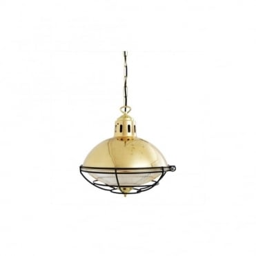 MARLOW - Cage Lamp Industrial Factory Light In Polished Brass