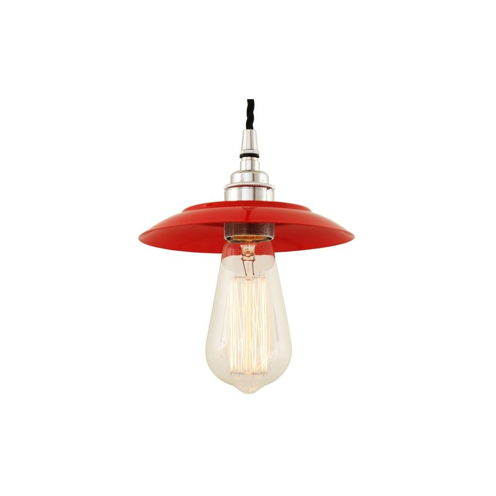 Red And Chrome Factory Warehouse Pendant