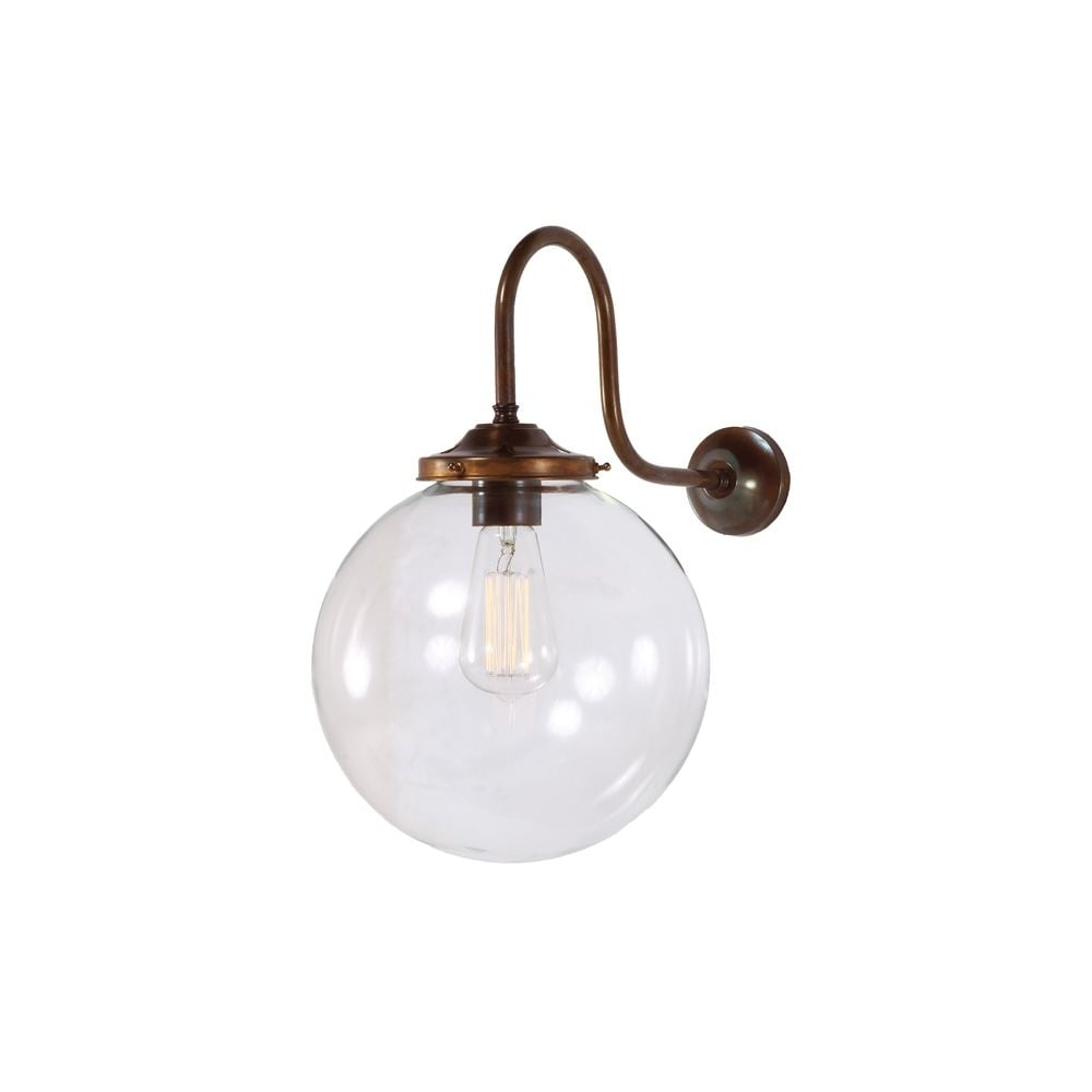 Clear Glass Globe Antique Brass Wall Light - Lighting and Lights UK