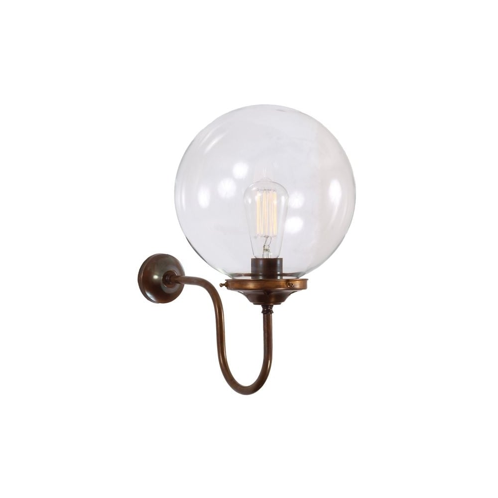 Clear Glass Globe Antique Brass Wall Light - Lighting and Lights UK