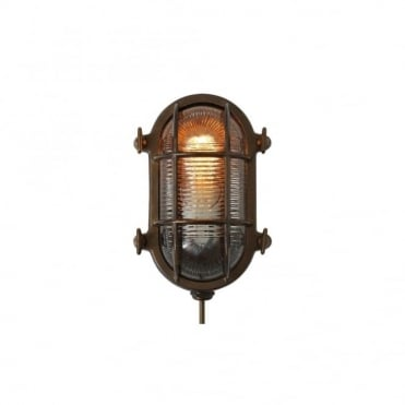 RUBEN - Bathroom Small Oval Marine Light In Antique Brass