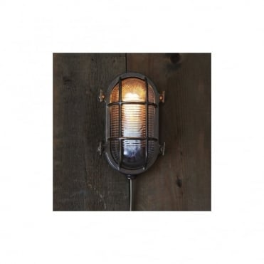 RUBEN - Exterior Small Oval Marine Light In Antique Silver