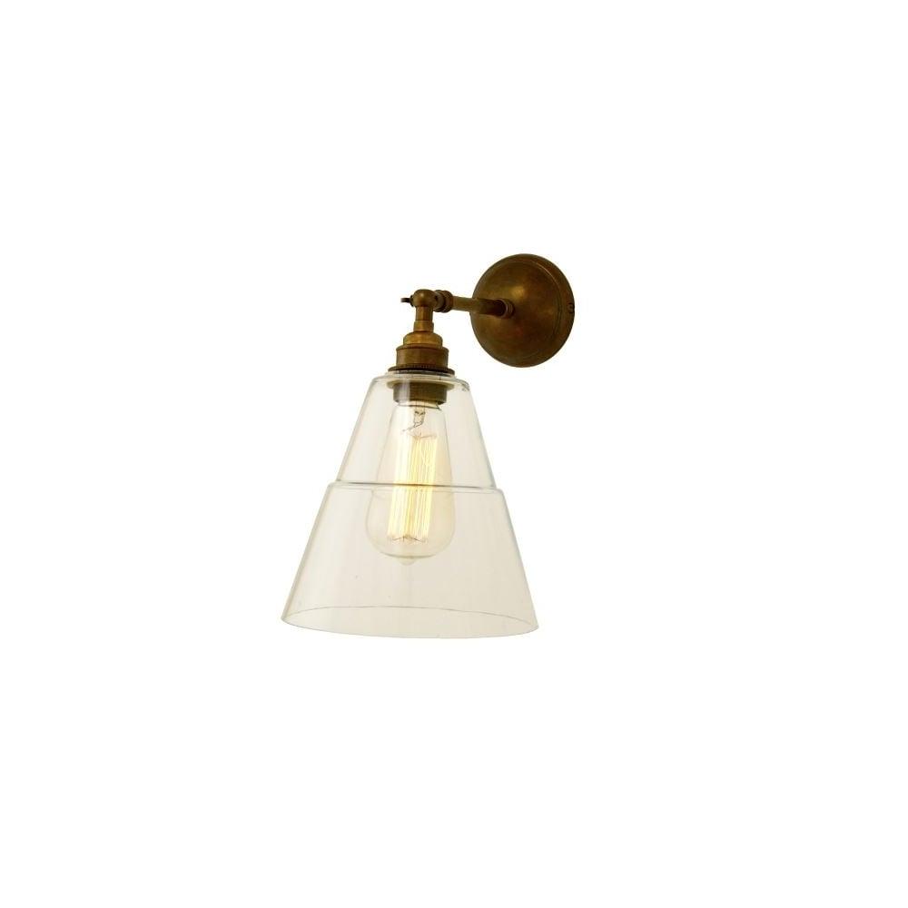 Glass and Antique Brass Wall Light Modern - Lighting and Lights UK