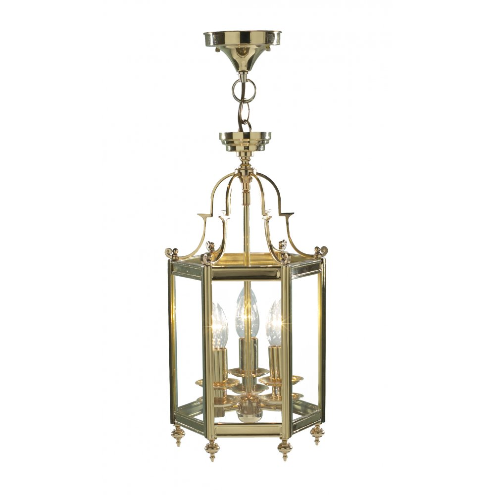traditional style hanging lantern in polished brass finish dual mount
