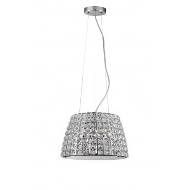 MOY - Large 3 Light Crystal Bathroom Ceiling Pendant with LED Bulbs Included
