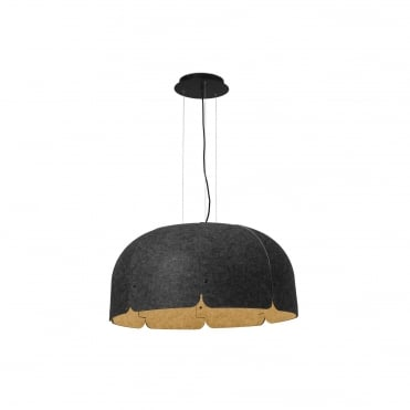 MUTE Extra Large Dark Grey Ceiling Pendant Recyc LED Bottles Acoustic Noise Reducer