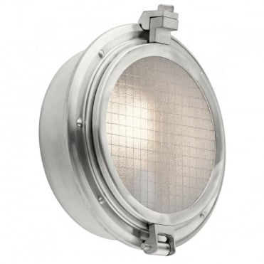 CLEARPOINT Porthole Style Exterior Wall Light Aluminium Wire Mesh Glass