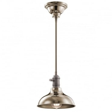 COBSON Small Retro Ceiling Pendant or Semi-Flush Polished Nickel