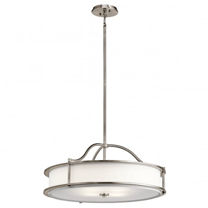 EMORY - 4 Light Ceiling Pendant or Semi-Flush Pewter and White