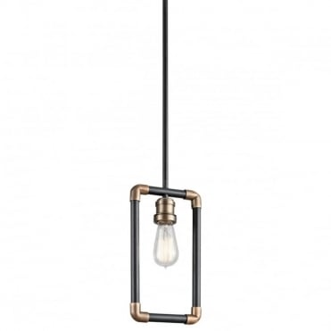 IMAHN Industrial Mini Pendant Black and Natural Brass Pipe