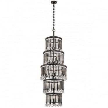PIPER Large 18 Light Ceiling Chandelier Espresso Crystal