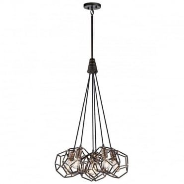 ROCKLYN 6 Light Industrial Geometric Ceiling Pendant Cluster Raw Steel