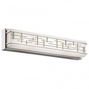ZOLON - LED Large Linear LED Geometric Bathroom Wall Light In White And Polished Chrome