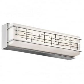 ZOLON - LED Medium Linear LED Geometric Bathroom Wall Light In White And Polished Chrome