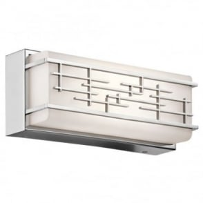 ZOLON - LED Small Linear LED Geometric Bathroom Wall Light In White And Polished Chrome