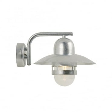 NIBE - Retro Exterior Wall Light Galvanised Steel Clear Glass