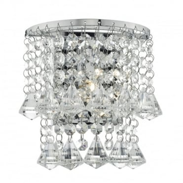 NIKO - Wall Light Polished Chrome with Crystal Droppers