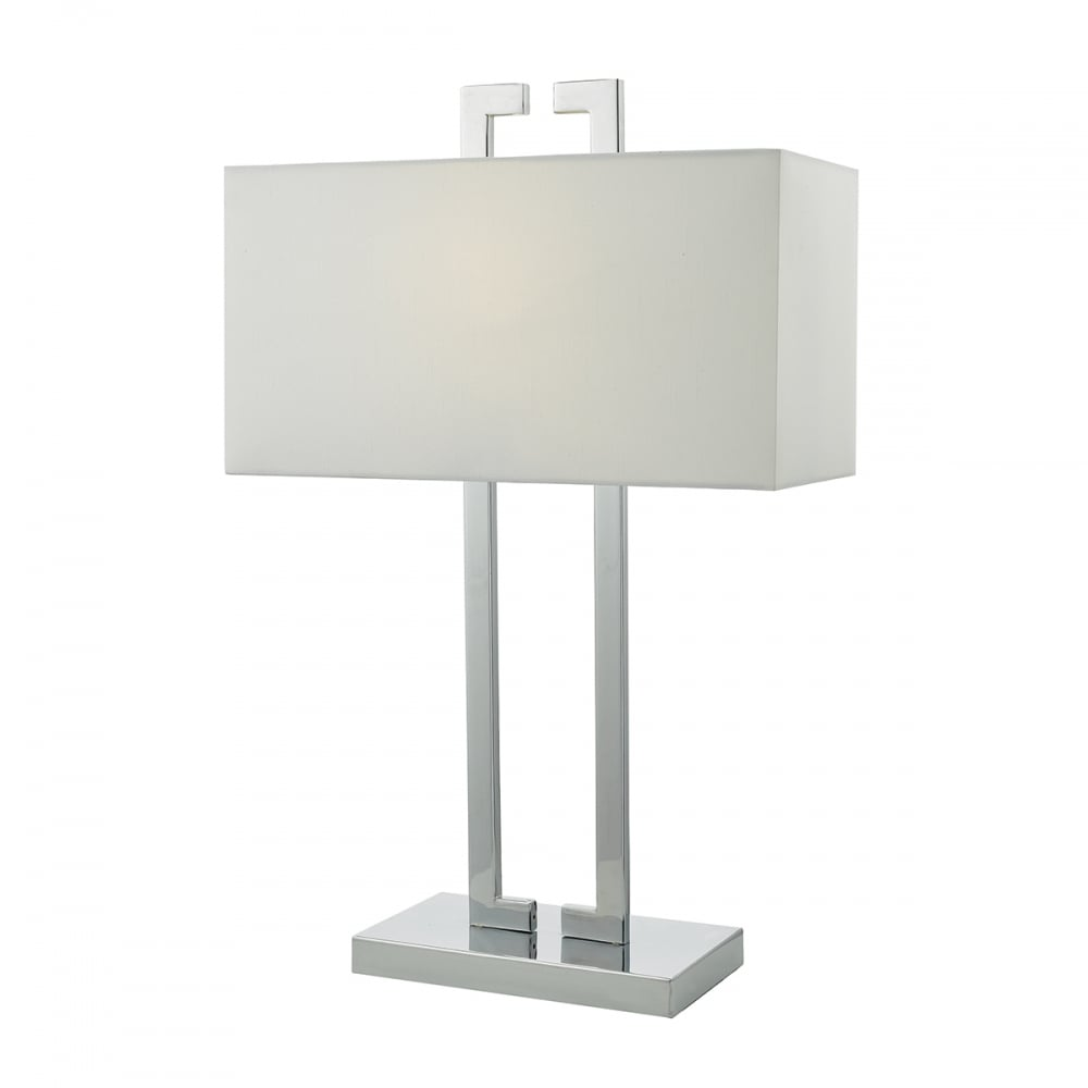Contemporary table lamp chrome white lighting and lights uk nile table lamp polished chrome complete with shade polished chrome aloadofball Image collections
