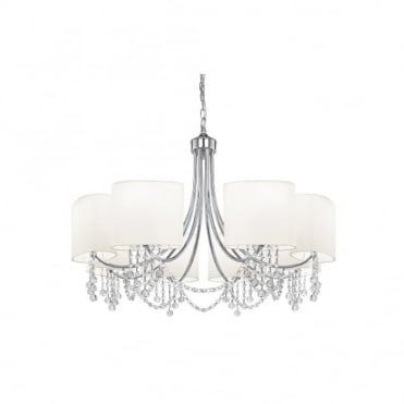 NINA - 8 Light Chrome Chandelier Clear Glass Buttons and White