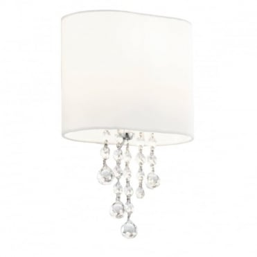 NINA - Chrome/Clear Beads 1 Light Wall Bracket White Shade , Switched