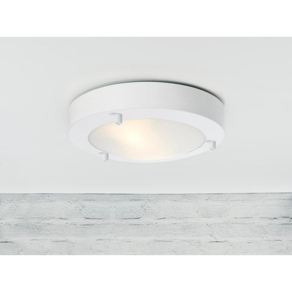 ANCONA LED Flush Bathroom Ceiling Light White Lighting