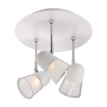ARLES - Modern 3 Light LED Ceiling Light White and Frosted Acrylic