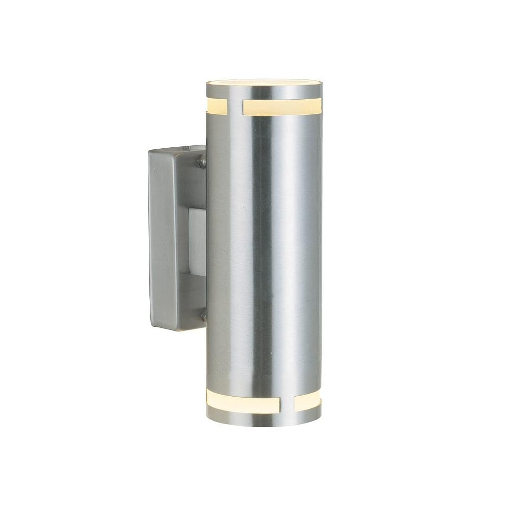 Double Wall Light External : Double Cylindrical Exterior Wall Light Steel - Lighting and Lights UK