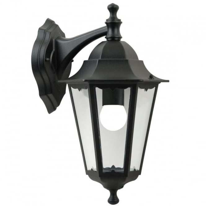 CARDIFF - Traditional Exterior Coach Lamp Wall Light Black Downward Facing