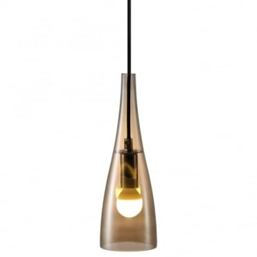 EMBLA - Sleek Modern Tapered Amber Glass Ceiling Pendant