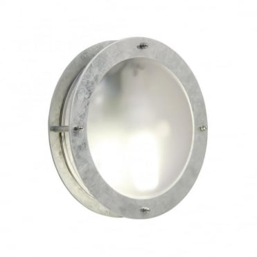 MALTE - Galvanised Steel Exterior Bulkhead Wall Light Frosted Glass